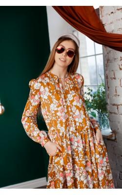 Гірчичне плаття в квітковий принт 77-402-777