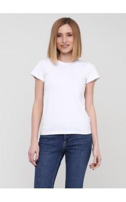 Вільна біла футболка з суцільнокроєним рукавом