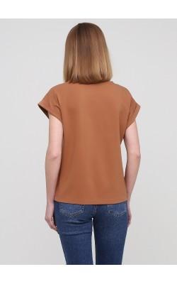 Оверсайз бежева футболка цільнокроєний рукав