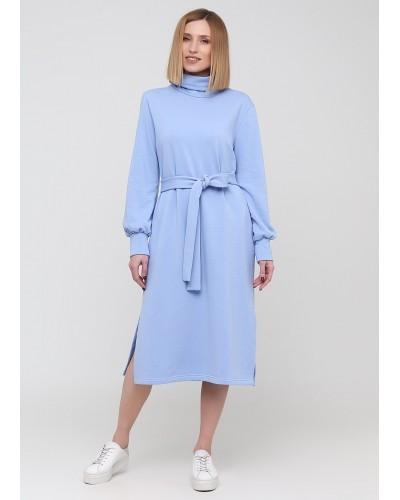 Небесно-блакитна тритотажна сукня з поясом
