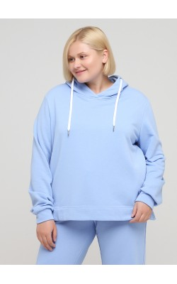 Світшот блакитного кольору з капюшоном
