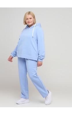 Трикотажні штани блакитного кольору без манжетів