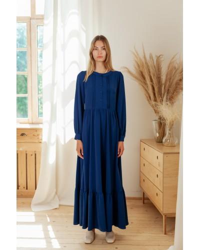 Плаття в дрібну цятку з воланом по низу 77-407-801