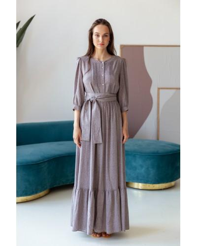 Сукня максі кольору тауп в дрібну крапку 77-411-78