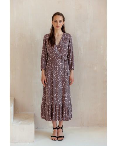 Плаття на запах з воланом по низу 77-415-800