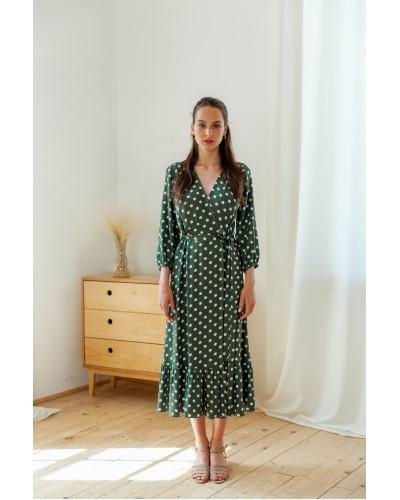 Плаття на запах пильно зелене в горохи 77-415-811