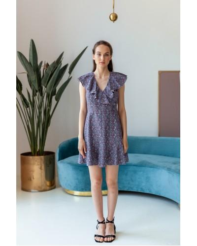 Сукня міні з воланом на плечах 77-422-812