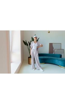 Костюм з брюками палаццо в клітинку 77-423-813