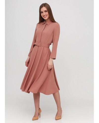 Класичне плаття міді в кольорі персикової нуги