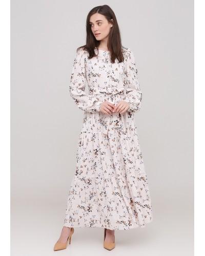 Весняне бежеве плаття з квітковим принтом