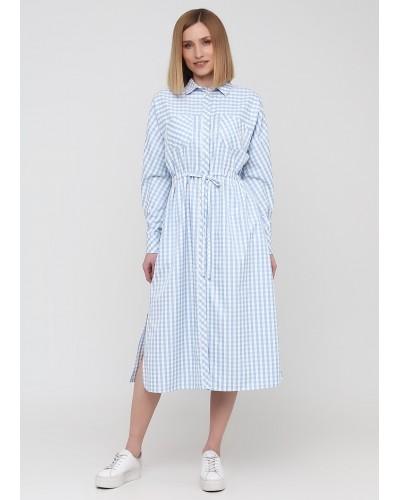 Сукня-сорочка в клітинку ніжно-блакитного кольору