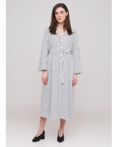 Біла сукня в горохи на удзиках з поясом